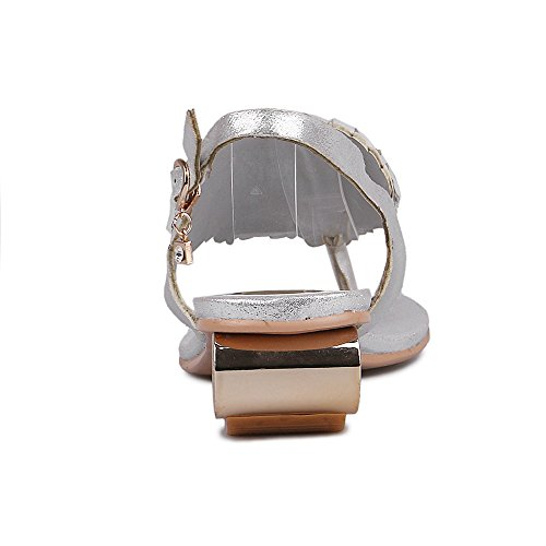 Fashion Heel - Zapatos con correa de tobillo mujer plata