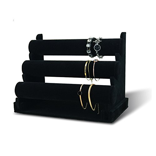 7TH VELVET 3 Tiers Bracelet Holder, Black Velvet Jewelry Organizer Stand and Display, Detachable Bracelet Display Stand, Jewelry Tree for Watch Organization