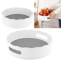 Kitchen Kalolary 2 Pcs Plastic Deep Lazy Susan Turntable, Non-Skid Pantry Cabinet Turntable, Kitchen Turntable Organizer… lazy susans