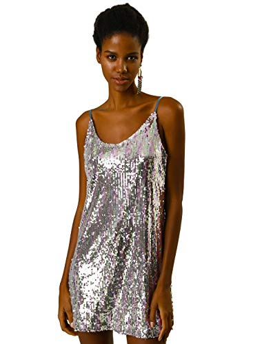 Allegra K Women's Glitter Sparkle Adjustable Strap Mini Party Sequin Dress M Light Pink