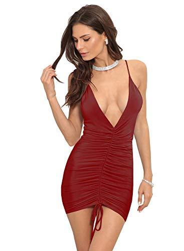 Red Deep Bodycon Sleeveless Sexy Party Spaghetti Club V Women's Straps Elegant 165 Neck Dress Wine HELYO q6wTXx4pT