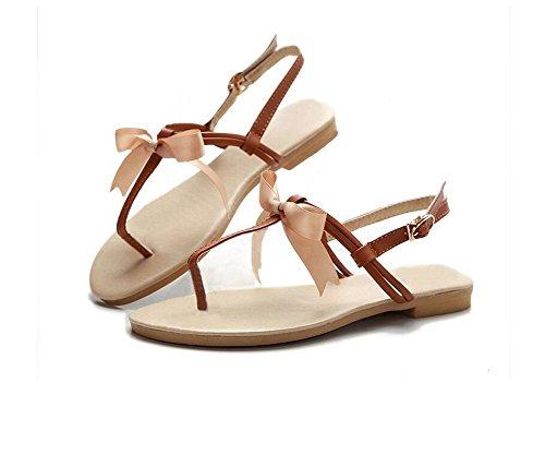 HAOHE Sandalias De La Mujer Primavera Verano Pu Peep Clip Toe Mariposa Nudo Decoración Oficina Y Carrera Vestido Casual Playa Plana Talón Sandalias Zapatos Brown
