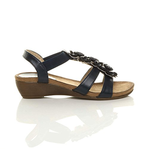 Navy Low Absatz Ladies Mid Wedge Riemchen Womens Sandalen Bar Elastische Größe Komfort T 7wqH5SpxFg