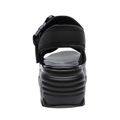 Alta Tessuto In Tacco Suola 5CM Slipsole 8954 Piattaforma JZTC Gomma Donna Velcro Zeppa KJJDE Elastico 6 Black Sandali Di zwpPxgqP8