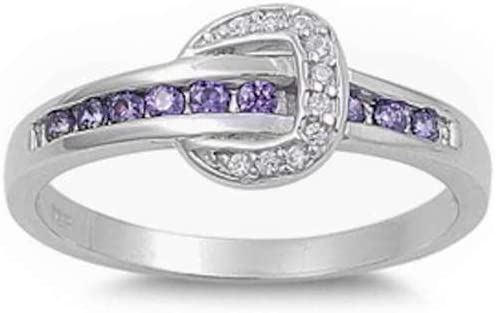 Princess Kylie Round Synthetic Amethyst and Clear Cubic Zirconia Belt Design Ring Sterling Silver Size 7