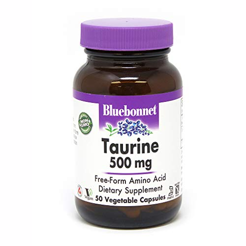 (Bluebonnet Taurine 500 mg Vitamin Capsules, 50 Count)