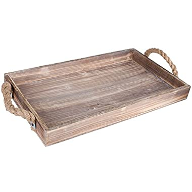 Dwellbee Rustic Wood Serving Tray with Rope Handles (Pine Wood)