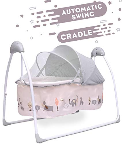 R for Rabbit Lullabies Cradle for Baby - New Born Baby Swing Cradle with Automatic Gentle Swing (Cream)