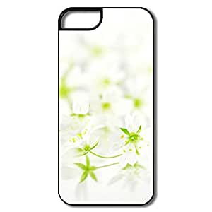 IPhone 5 5S Hard Plastic Cases, White Flowers White/black Cases For IPhone 5