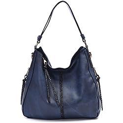 DDDH Hobo Handbags Leather Purses Large Tote Shoulder Bags Vintage Bucket Bag For Women(Blue)
