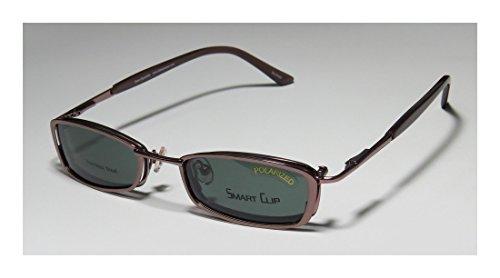 Smart Clip 293 Mens/Womens Rx Ready Fancy Designer Full-rim Spring Hinges Sunglass Lens Clip-Ons Eyeglasses/Eye Glasses (48-19-140, Light Brown)