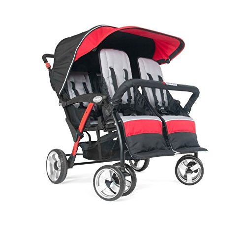(Foundations Infant Toddler Sport Splash 4 Passenger Quad Stroller - Red)