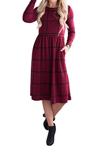 Long Sleeve Empire (Ivay Women's Grid Tunic Long Sleeve Empire Waist Knee Length Midi Dresses with Pockets)