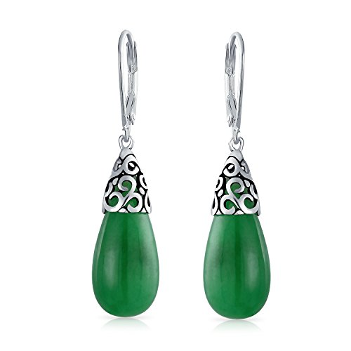 Bali Style Gemstone Dyed Green Jade Elongated Teardrop Filigree Leverback Dangle Earrings For Women Sterling Silver