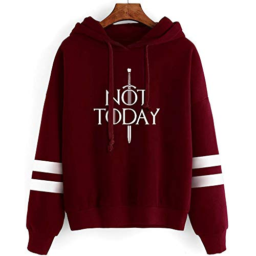 GOT Not Today Arya Stark Hoodie Sweatshirt The Game TV Series Thrones Merchandise Hoodies Sweater Funny Tops Pullover Gift (Not Today Arya Wine Red, XXL) (Best Funny Tv Series)