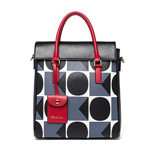 BOSTANTEN Leather Designer Handbags POP Art Style Tote Shoulder Bags for Women Grey by BOSTANTEN