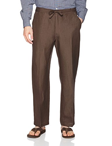Button Elastic Waist (Drawstring Pant with Back Elastic Waistband, Chocolate Brown, Large x 30L)