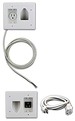 Datacomm 50-3323-WH-KIT Flat Panel TV Cable Organizer Kit with Power Solution - White from DataComm Electronics, Inc.