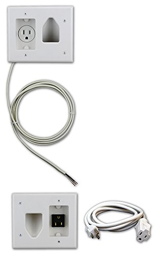Datacomm 50-3323-WH-KIT Flat Panel TV Cable Organizer Kit with Power Solution - White Behind Wall