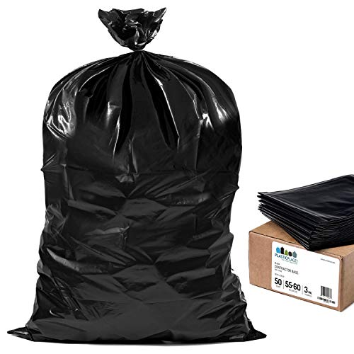 Plasticplace Contractor Trash Bags 55-60 Gallon │ 3.0 Mil │ Black Heavy Duty Garbage Bag │ 38