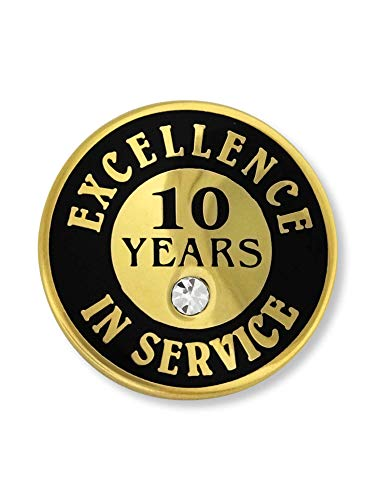 PinMart's Gold Plated Excellence in Service Enamel Lapel Pin w/ Rhinestone - 10 Years 10 Year Anniversary Pin
