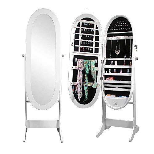 SogesHome L016-W-SH clóset de joyería Grande con Espejo, Organizador, Resistente y Elegante Color Blanco