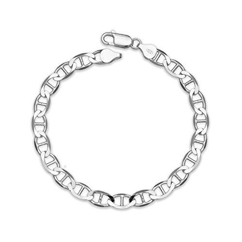 Sterling Silver 7 Inch X 8.0 mm Mariner Link - Mariner Bracelet 8mm Silver