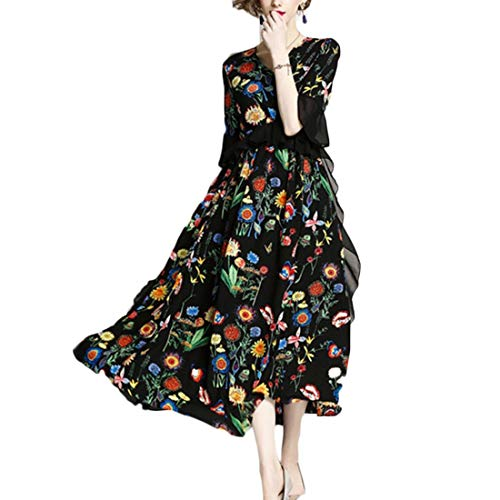 Pierna Media Uzzhang Dresses Manga Volantes Black Corta Size De Mujeres Black Con A Xl Swing color Las Y Vestido tqtwE4fg