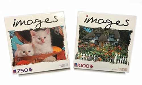 Knitting Kittens - Puzzle IMAGES - Thatched Cottage, England 1000 Pieces Puzzle and Knitting Kittens with 750 pieces - 2 Pack!!