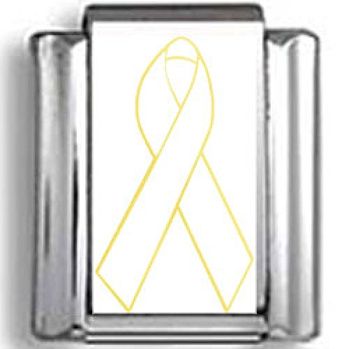 White Awareness Ribbon Photo Charm - White Awareness Ribbon Photo Italian Charm