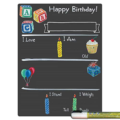 Cohas Birthday Milestone Board with Basic Designs, Reusable Chalkboard Style Surface, and Liquid Chalk Marker, 9 by 12 Inches, White Marker ()