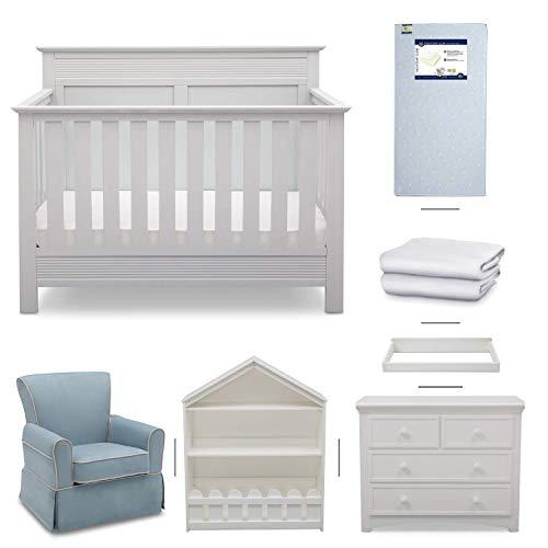 Crib Furniture - 7 Piece Nursery Set - Convertible Crib, Dresser, Bookcase, Crib Mattress, Glider Chair, Changing Top, Toddler Rail, Serta Fall River