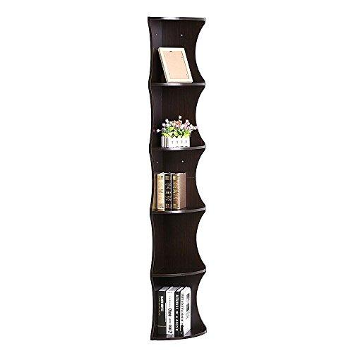 Topeakmart 5 Tier Storage Shelf Corner Stand Storage Casual Home Furniture Display Bookshelf Brown