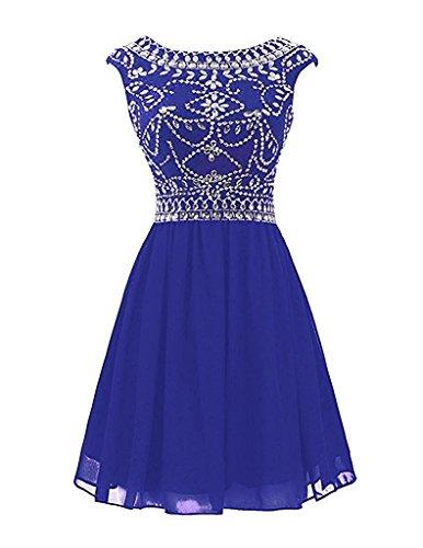 mia Royal Festlichkleider Mini Blau Tanzenkleider Braut Cocktailkleider Damen Weiss Chiffon La Abendkleider Partykleider Kurzes dw7xdq4