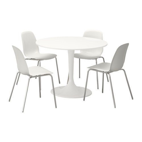 Ikea Table and 4 chairs, white, white 14204.20514.3030