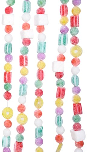 Kurt Adler 9ft Plastic White Flocked Candy Christmas Garland (Large Image)