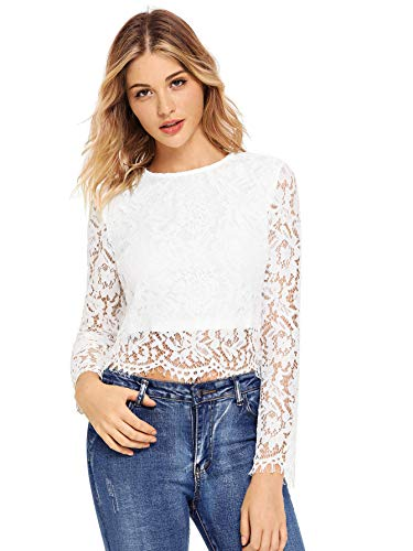 (MAKEMECHIC Women's Long Sleeve Sexy Sheer Blouse Mesh Lace Crop Top White M )