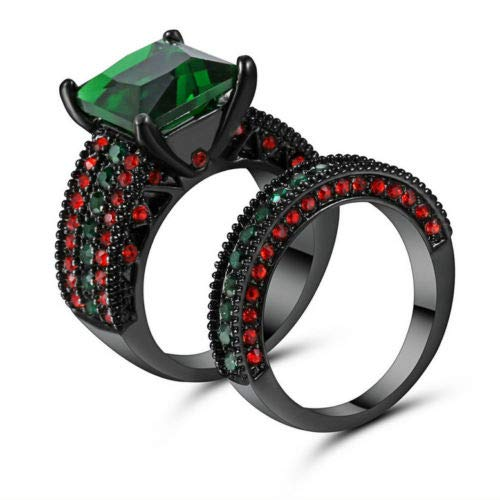Phonphisai shop 5.80/ct Lab Green Emerald CZ Wedding Rings Set 10KT Black Gold Filled Size 6