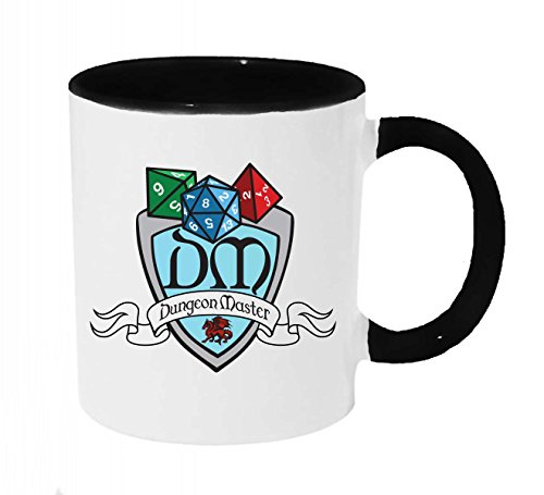 DM Dungeon Master Shield With Dice Coffee or Tea 11oz Mug - Perfect Gift for Steampunk, Dnd Gamers and more ()