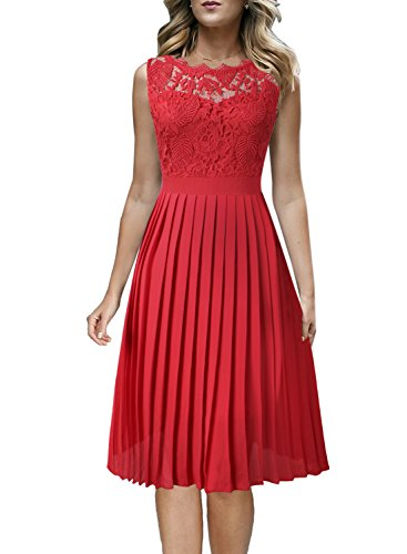 Lace Pleated Dress - VFSHOW Womens Elegant Floral Lace Pleated Cocktail Party Skater A-Line Dress 170 RED S