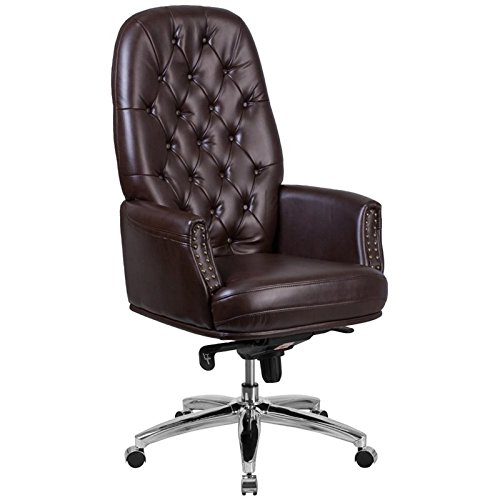 (Flash Furniture High Back Traditional Tufted Brown Leather Multifunction Executive Swivel Chair with Arms)