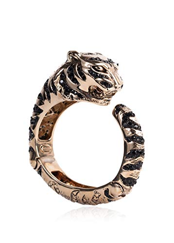 (Roberto Cavalli Women Gold Swarovski Crystal Tiger Bracelet Sz XS/X~RTL$1450)