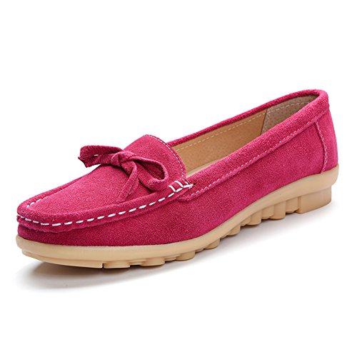 Faloaon Bowknot Daim Cuir Femmes Mocassins Chaussures Dames Loisirs Glisser Sur Rose Rouge