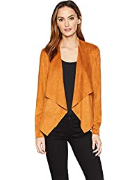 Womens Draped Jacket in Perforated Microsuede