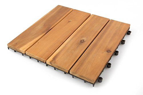 Villa Acacia Wood Patio Pavers, Interlocking Deck Tiles for Outdoor and Floors - 12 x 12 Inch (Pack of 10) (4 Slat)