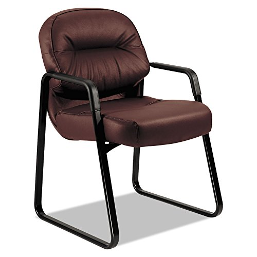 HON H2093.SR69.T Pillow-Soft Leather Guest Chair with Fixed Arms, Burgundy by HON