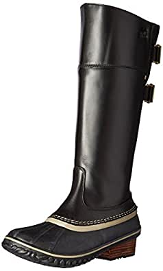 SOREL Women's Slimpack Riding Tall II Snow Boot, Black, Kettle, 5 B US