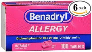 Benadryl Allergy Ultratab Tablets - 100 ct, Pack of 6