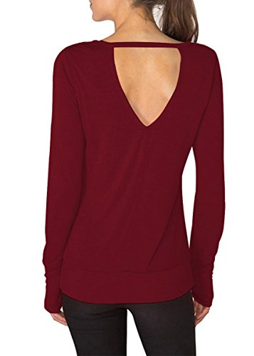 Fihapyli Women's Spring Round Neck Open Back Long Sleeve T Shirt Casual Tops Summer Long Sleeve with Thumb Hole Elegant Fashionable Simple Tops Tee (Wine Red, XXL)