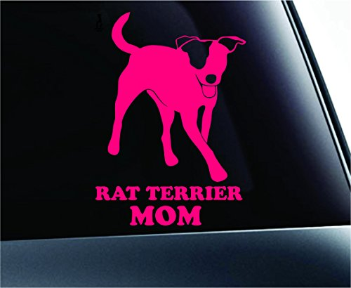 ExpressDecor Rat Terrier Mom Dog Symbol Decal Paw Print Dog Puppy Pet Family Breed Love Car Truck Sticker Window (Pink)